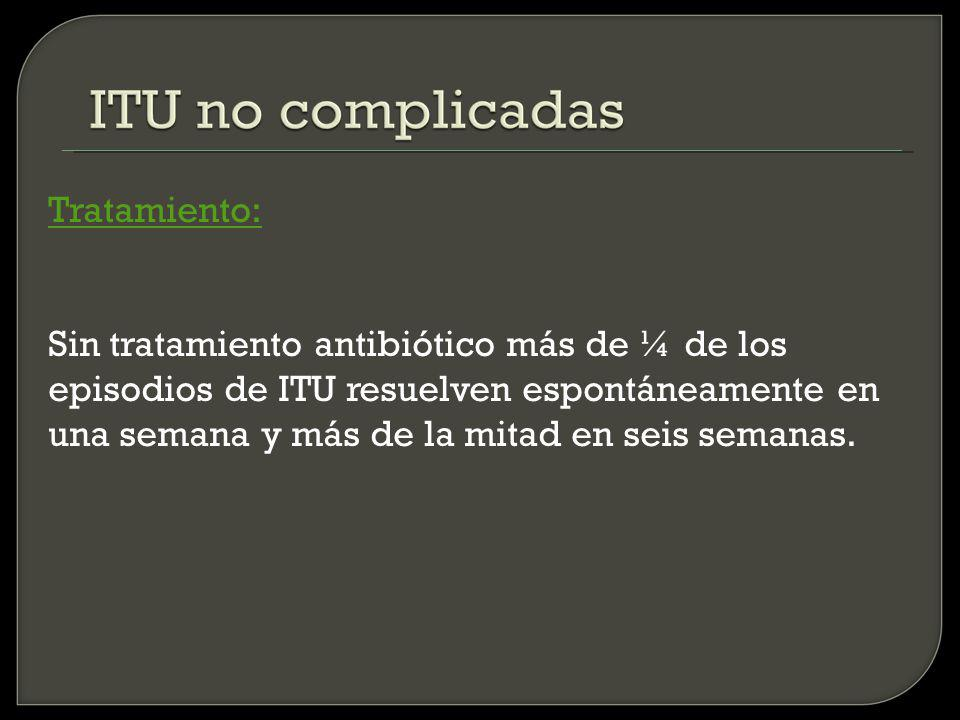 Tratamiento: Sin tratamiento antibiótico más de ¼ de los episodios de ITU resuelven espontáneamente en una semana y más de la mitad en seis semanas.