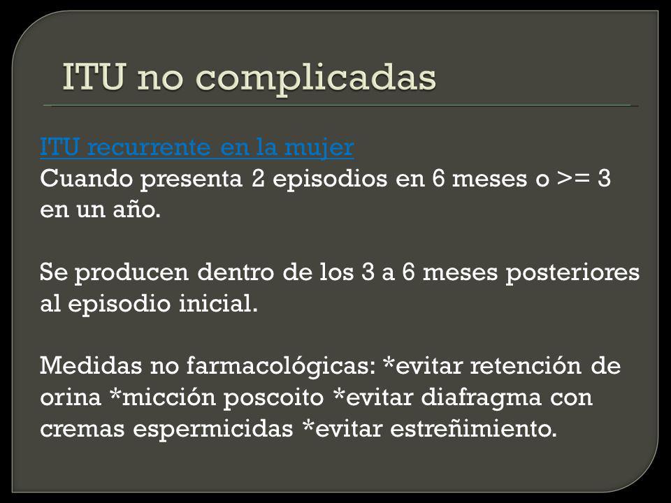 ITU recurrente en la mujer Cuando presenta 2 episodios en 6 meses o >= 3 en un año.