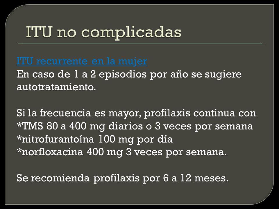 ITU recurrente en la mujer En caso de 1 a 2 episodios por año se sugiere autotratamiento.