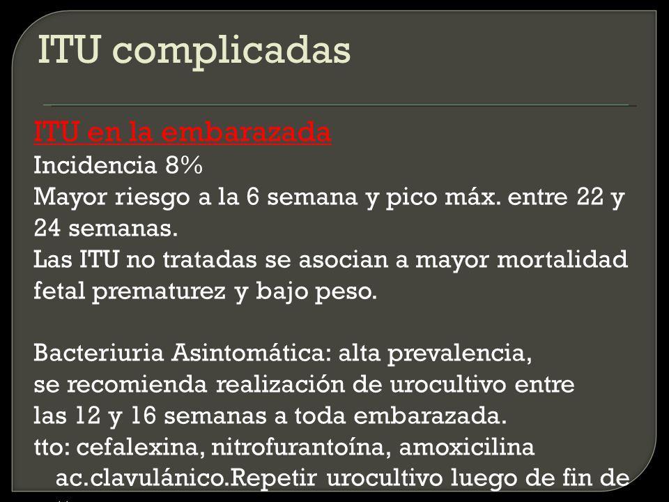 ITU complicadas ITU en la embarazada Incidencia 8%