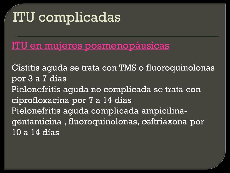 ITU complicadas ITU en mujeres posmenopáusicas