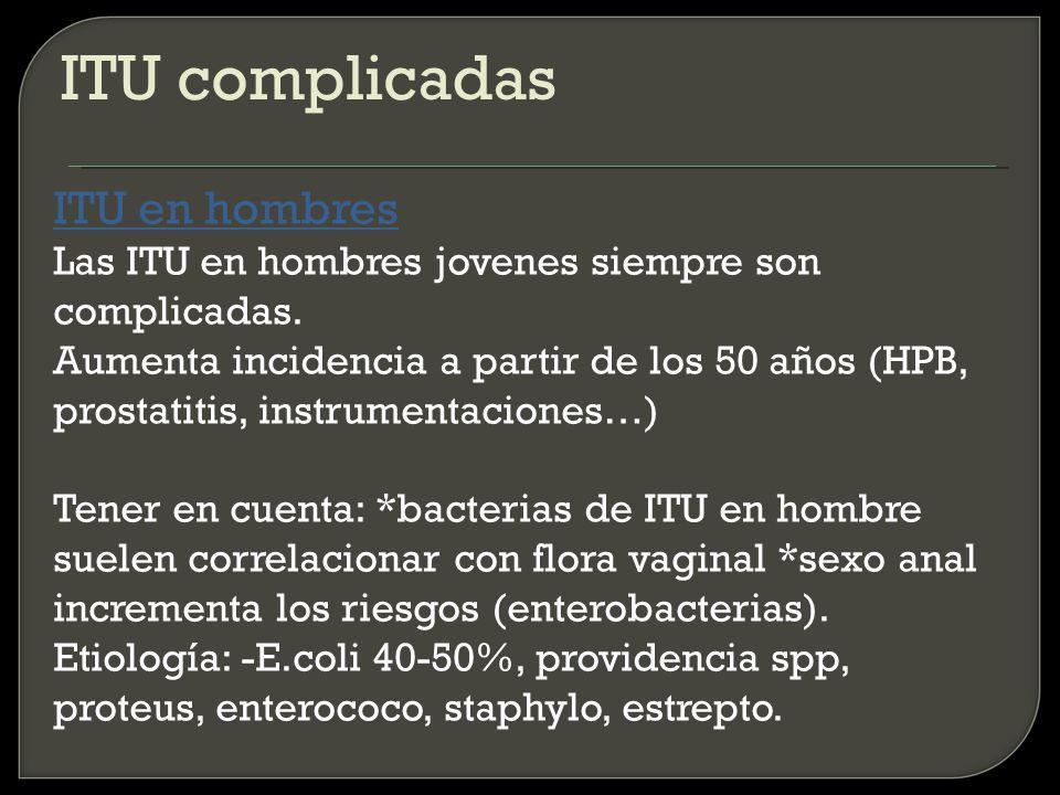 ITU complicadas ITU en hombres Las ITU en hombres jovenes siempre son