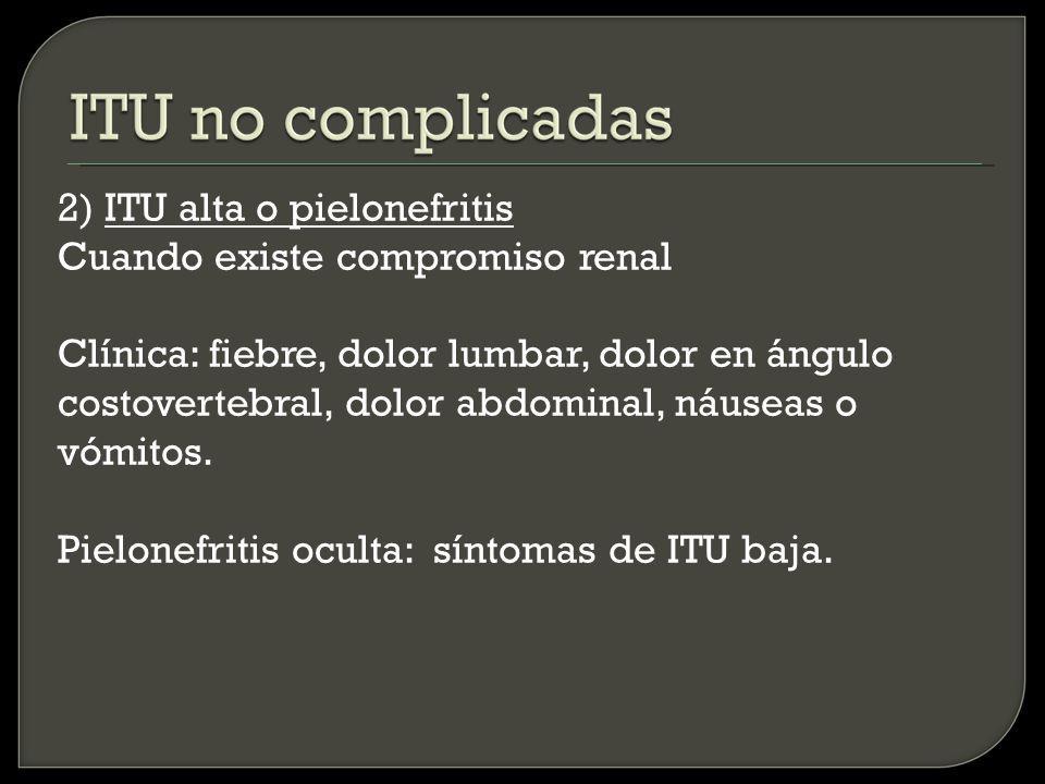 2) ITU alta o pielonefritis