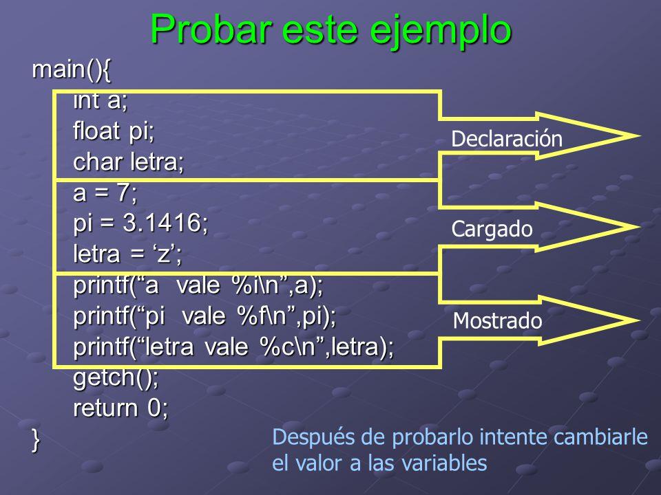 Probar este ejemplo main(){ int a; float pi; char letra; a = 7;