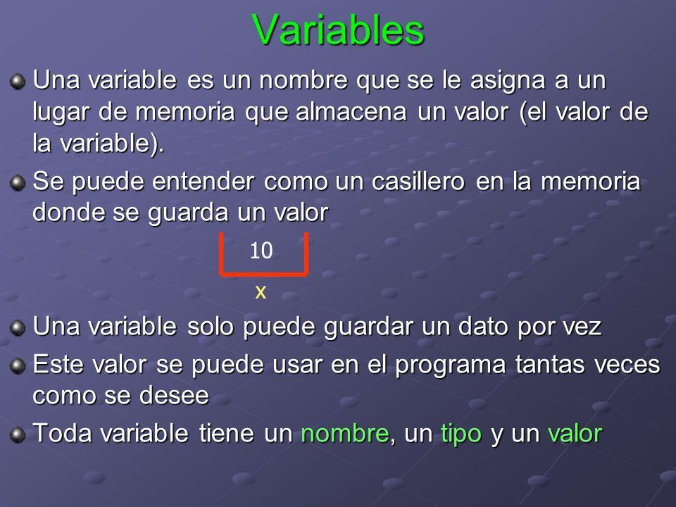 Variables Una variable es un nombre que se le asigna a un lugar de memoria que almacena un valor (el valor de la variable).