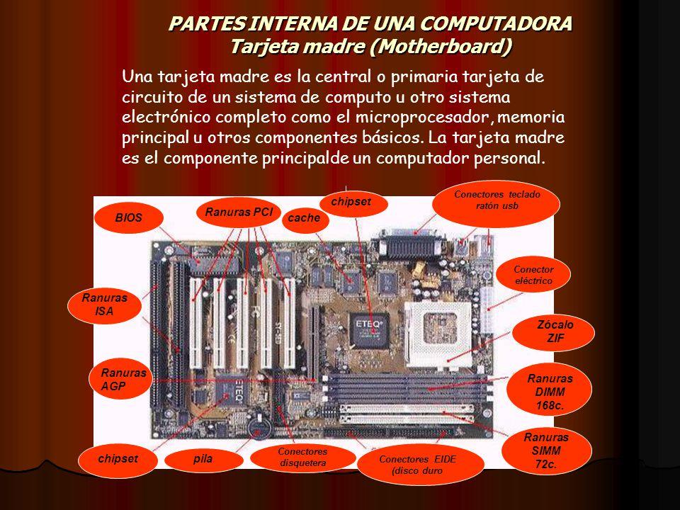 PARTES INTERNA DE UNA COMPUTADORA Tarjeta madre (Motherboard)