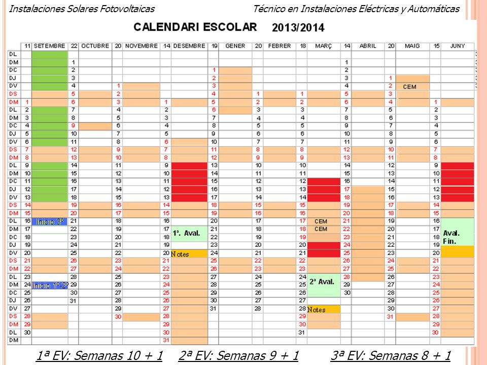 Calendario 2013-2014 1ª EV: Semanas 10 + 1 2ª EV: Semanas 9 + 1