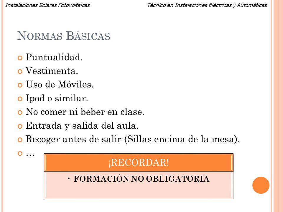 FORMACIÓN NO OBLIGATORIA