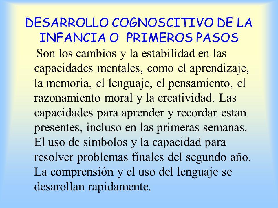 DESARROLLO COGNOSCITIVO DE LA INFANCIA O PRIMEROS PASOS