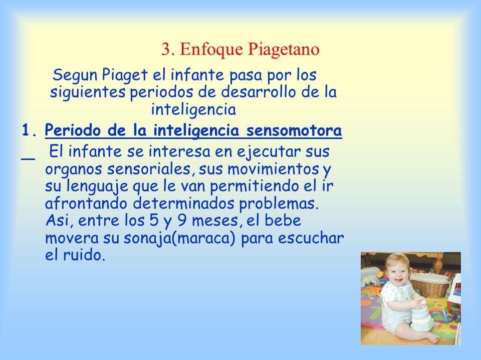 3. Enfoque Piagetano Segun Piaget el infante pasa por los siguientes periodos de desarrollo de la inteligencia.