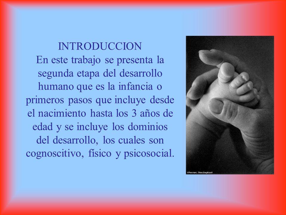 INTRODUCCION En este trabajo se presenta la segunda etapa del desarrollo humano que es la infancia o primeros pasos que incluye desde el nacimiento hasta los 3 años de edad y se incluye los dominios del desarrollo, los cuales son cognoscitivo, físico y psicosocial.