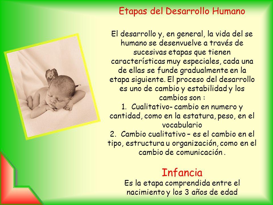 Etapas del Desarrollo Humano El desarrollo y, en general, la vida del se humano se desenvuelve a través de sucesivas etapas que tienen características muy especiales, cada una de ellas se funde gradualmente en la etapa siguiente.
