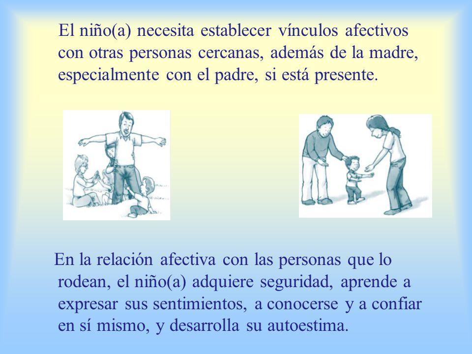 El niño(a) necesita establecer vínculos afectivos con otras personas cercanas, además de la madre, especialmente con el padre, si está presente.
