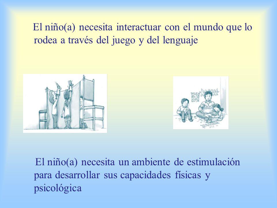 El niño(a) necesita interactuar con el mundo que lo rodea a través del juego y del lenguaje