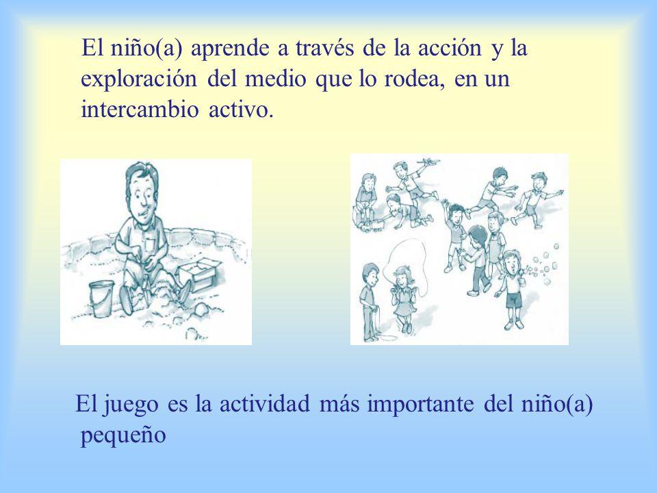 El niño(a) aprende a través de la acción y la exploración del medio que lo rodea, en un intercambio activo.