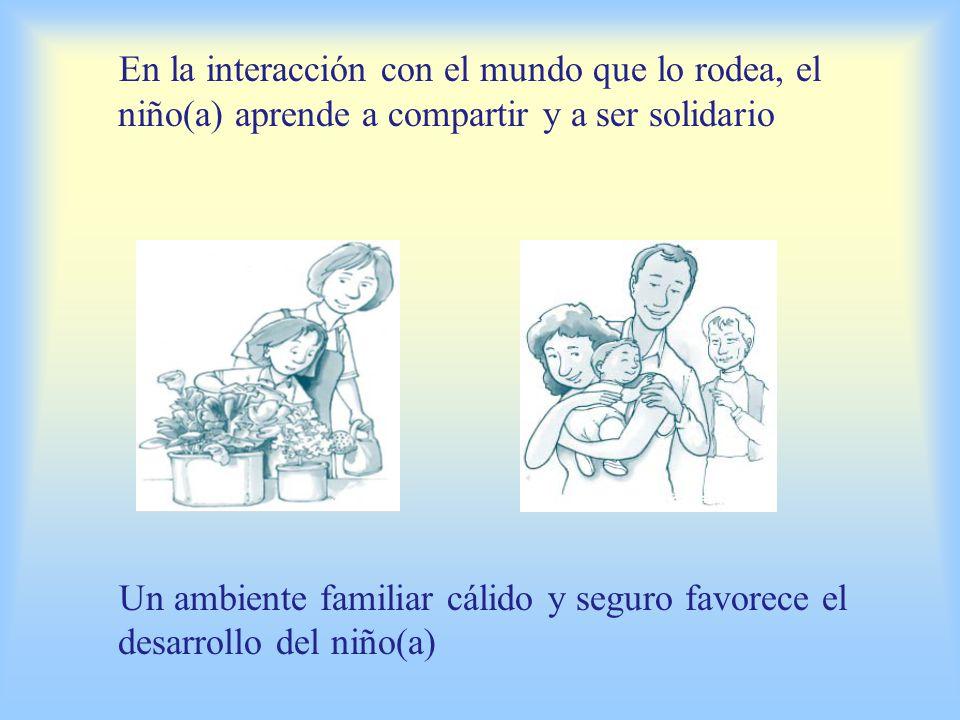 En la interacción con el mundo que lo rodea, el niño(a) aprende a compartir y a ser solidario