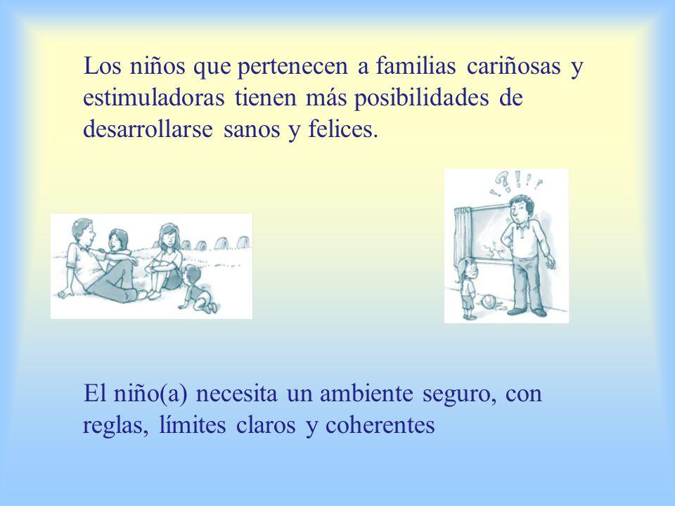 Los niños que pertenecen a familias cariñosas y estimuladoras tienen más posibilidades de desarrollarse sanos y felices.