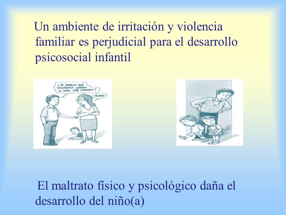 Un ambiente de irritación y violencia familiar es perjudicial para el desarrollo psicosocial infantil El maltrato físico y psicológico daña el desarrollo del niño(a)