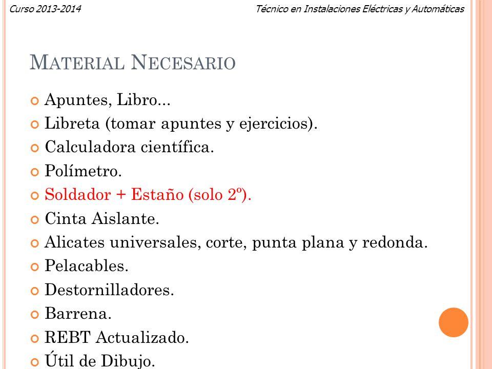 Material Necesario Apuntes, Libro...