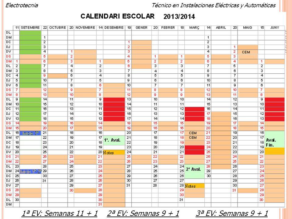 Calendario 2012-2013 1ª EV: Semanas 11 + 1 2ª EV: Semanas 9 + 1