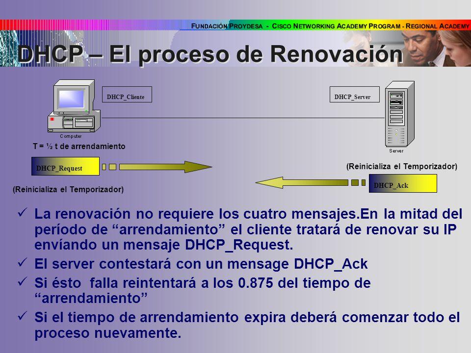 DHCP – El proceso de Renovación