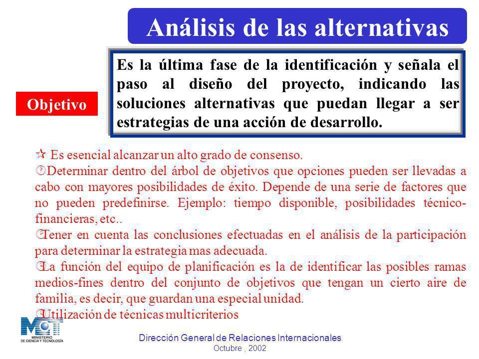 Análisis de las alternativas