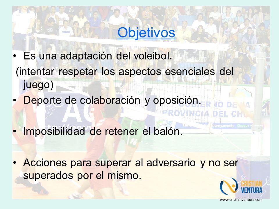 Objetivos Es una adaptación del voleibol.