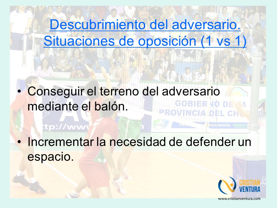 Descubrimiento del adversario. Situaciones de oposición (1 vs 1)