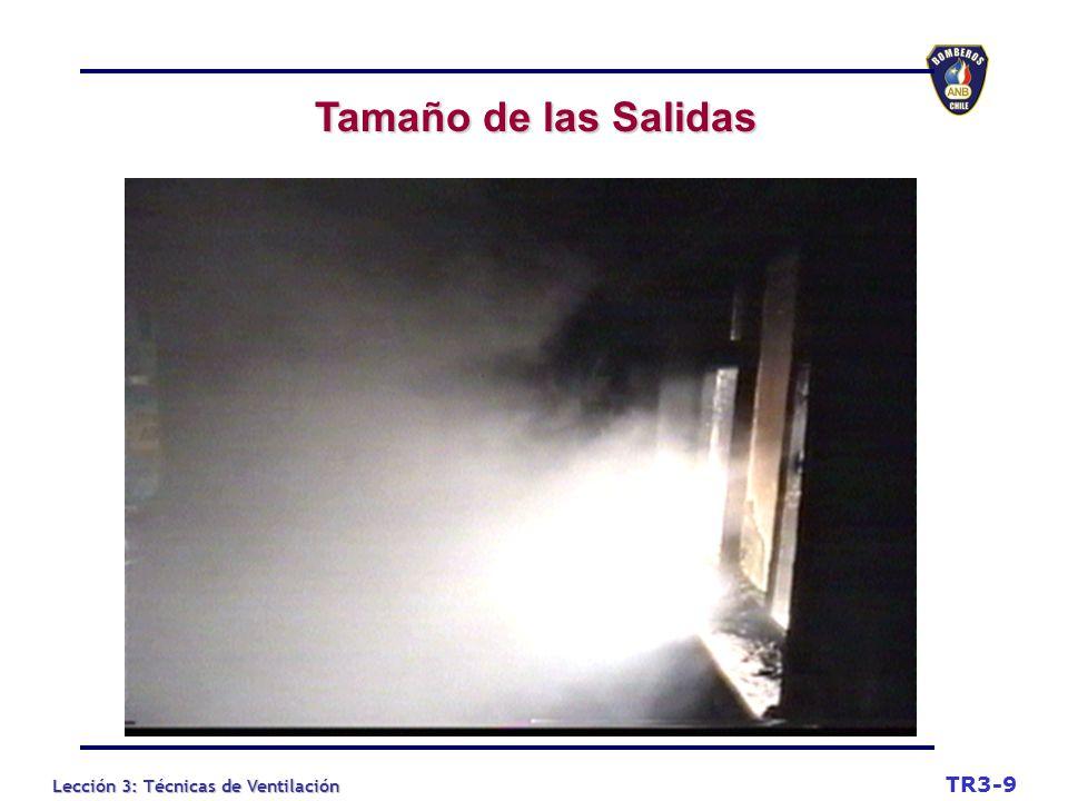 Tamaño de las Salidas TR3-9