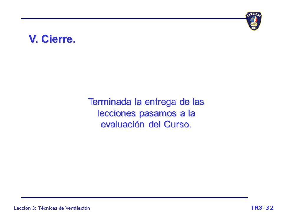 V. Cierre. Terminada la entrega de las lecciones pasamos a la evaluación del Curso. TR3-32
