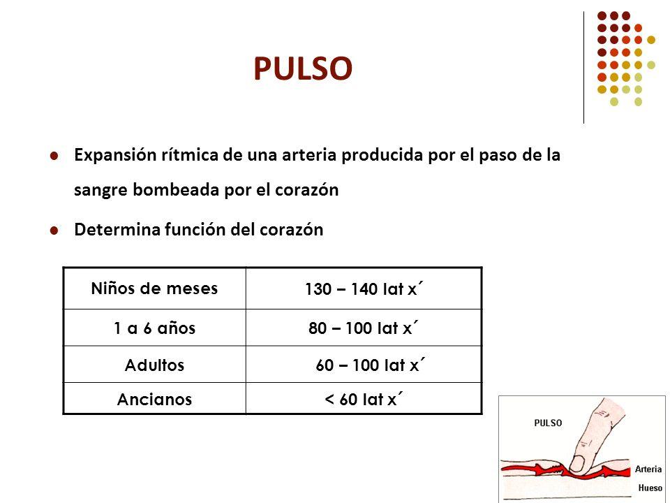 PULSO Expansión rítmica de una arteria producida por el paso de la sangre bombeada por el corazón. Determina función del corazón.