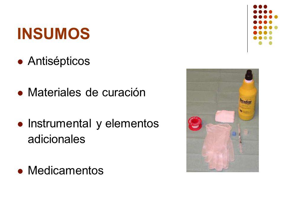 INSUMOS Antisépticos Materiales de curación Instrumental y elementos