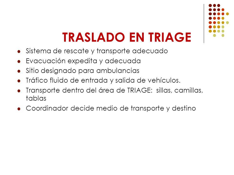 TRASLADO EN TRIAGE Sistema de rescate y transporte adecuado