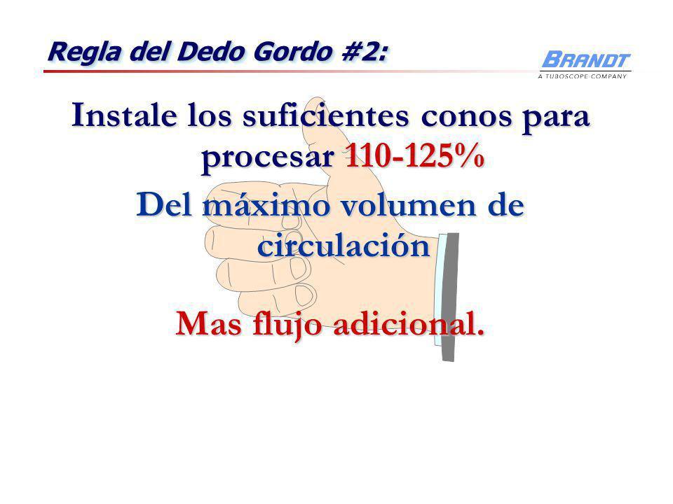 Instale los suficientes conos para procesar 110-125%
