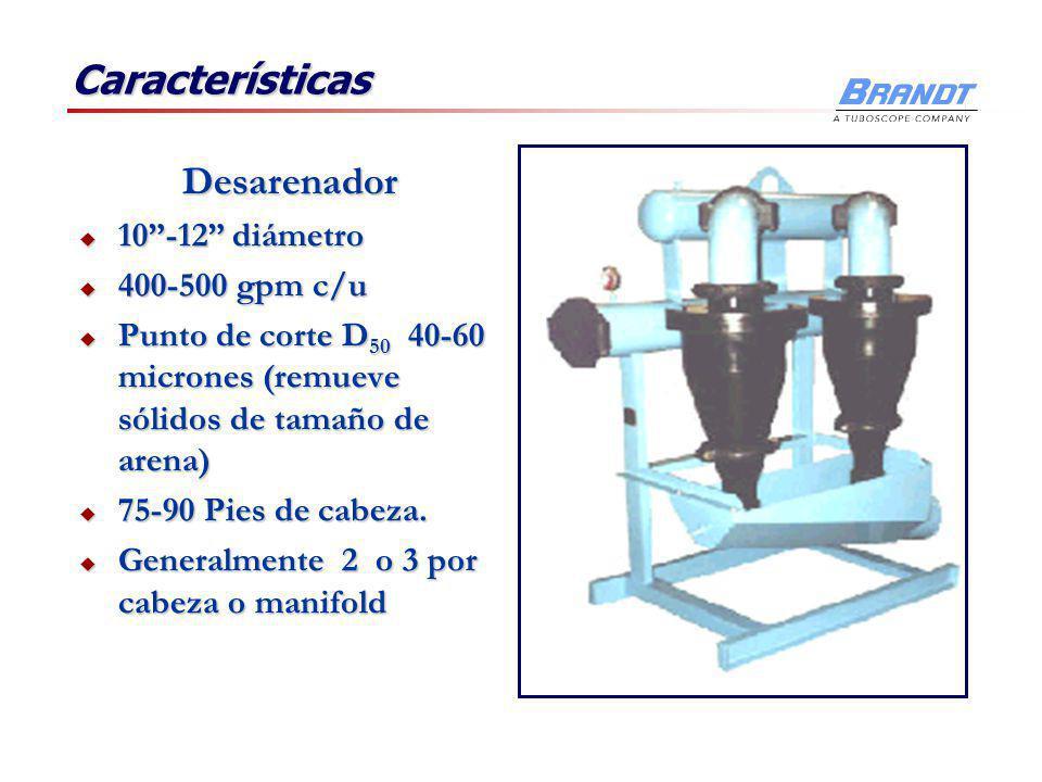 Características Desarenador 10 -12 diámetro 400-500 gpm c/u