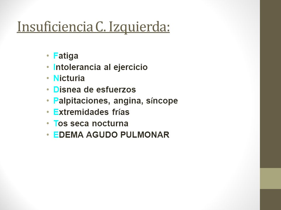 Insuficiencia C. Izquierda: