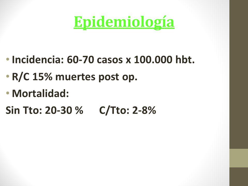 Epidemiología Incidencia: 60-70 casos x 100.000 hbt.