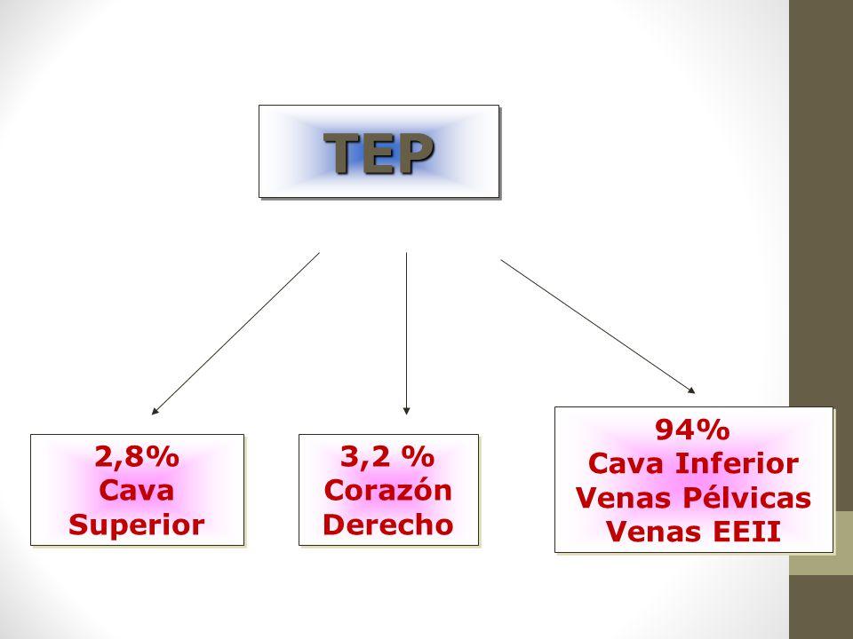 TEP 94% Cava Inferior Venas Pélvicas Venas EEII 2,8% Cava Superior