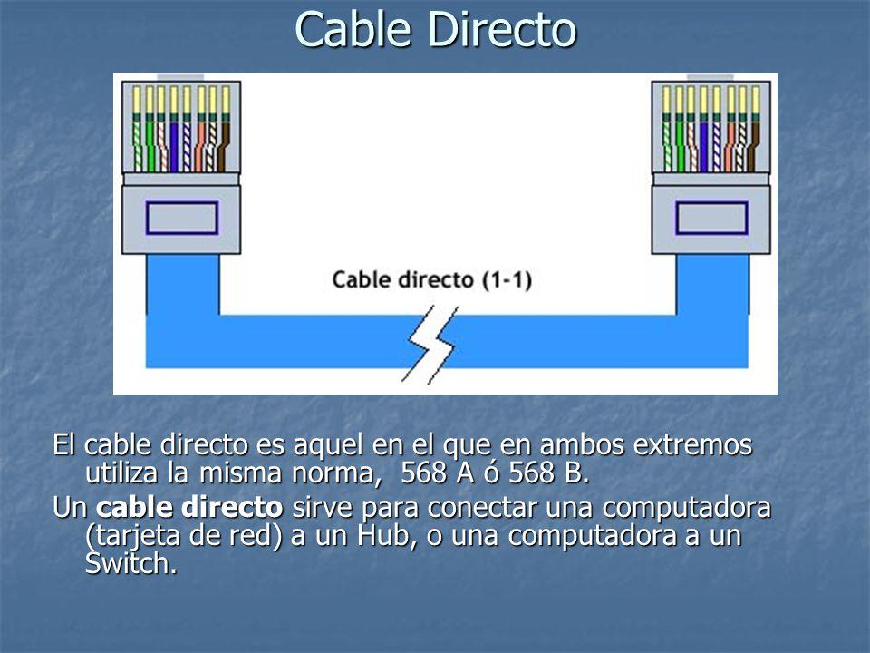 Cable Directo El cable directo es aquel en el que en ambos extremos utiliza la misma norma, 568 A ó 568 B.