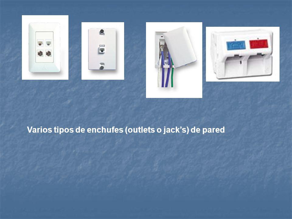 Varios tipos de enchufes (outlets o jack's) de pared