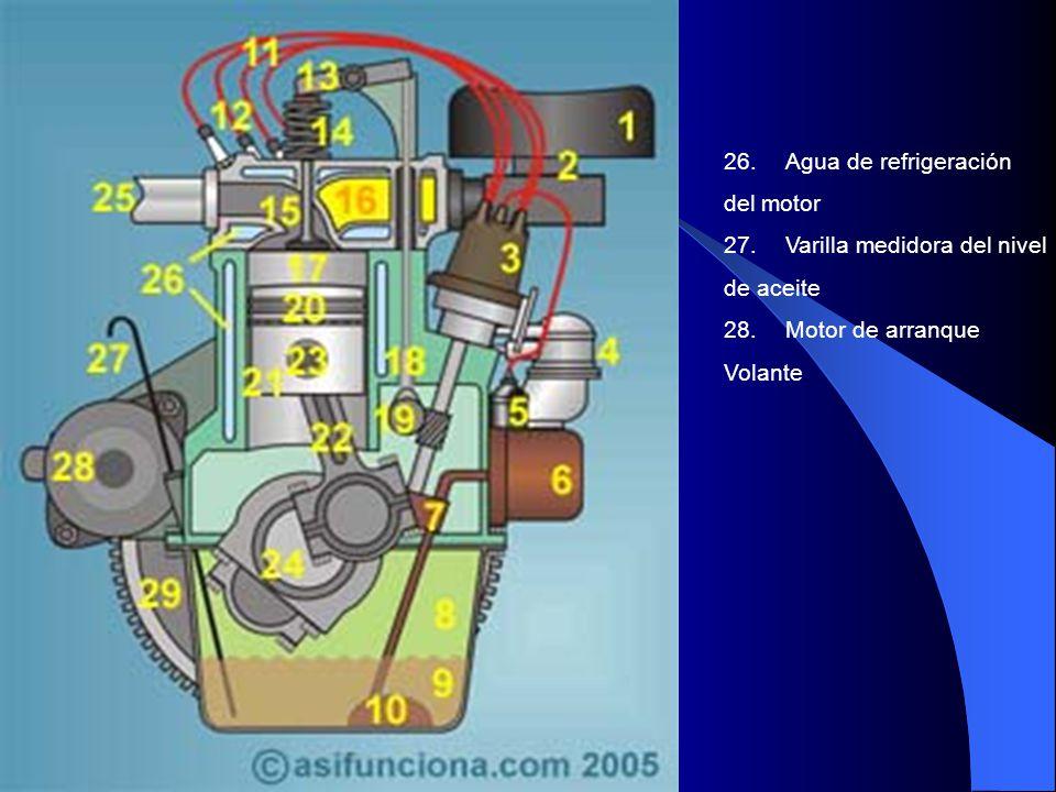 26. Agua de refrigeración del motor. 27. Varilla medidora del nivel. de aceite. 28. Motor de arranque.