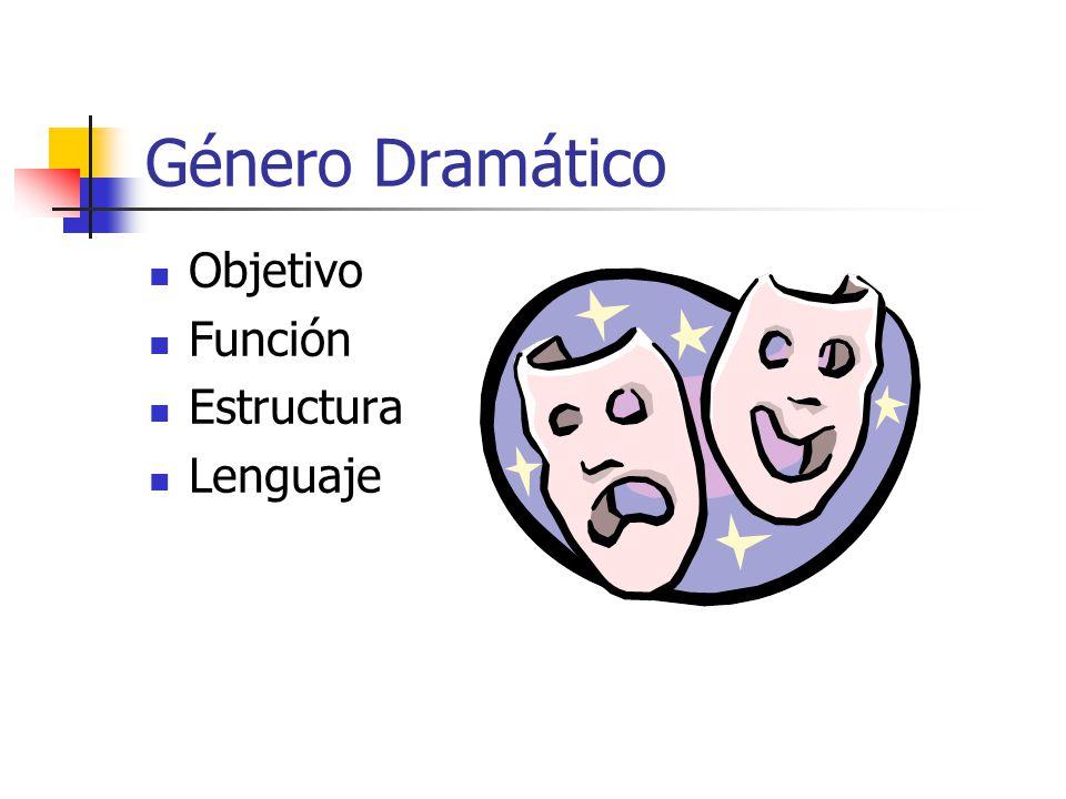 Género Dramático Objetivo Función Estructura Lenguaje