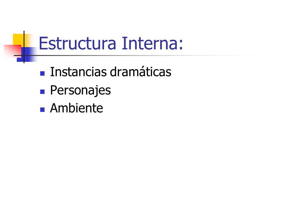Estructura Interna: Instancias dramáticas Personajes Ambiente