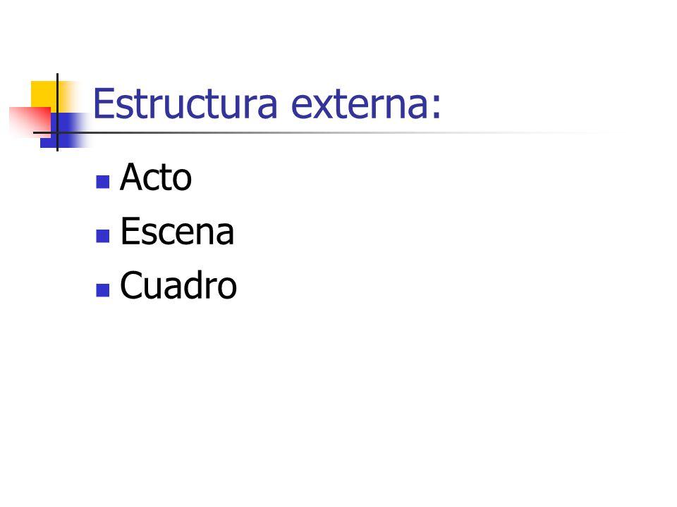 Estructura externa: Acto Escena Cuadro