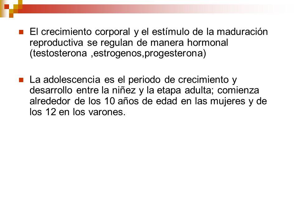 El crecimiento corporal y el estímulo de la maduración reproductiva se regulan de manera hormonal (testosterona ,estrogenos,progesterona)