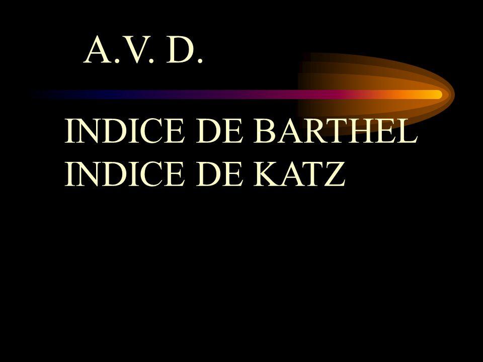 A.V. D. INDICE DE BARTHEL INDICE DE KATZ