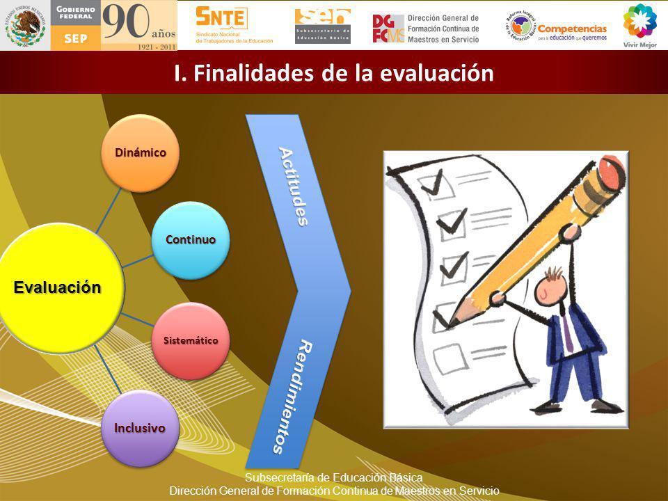 I. Finalidades de la evaluación