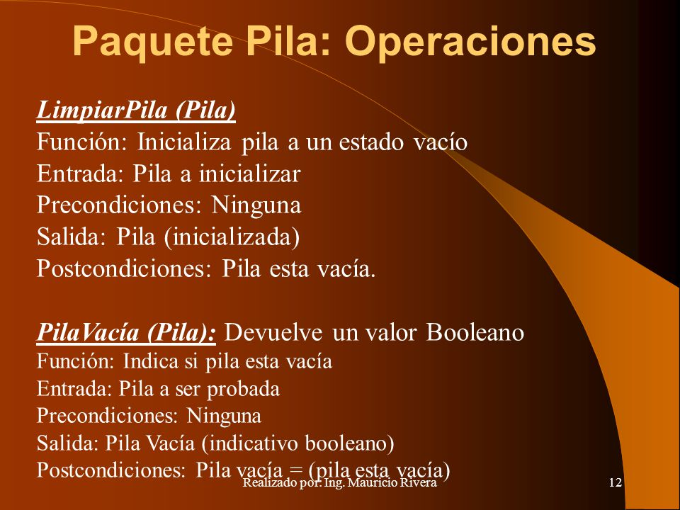Paquete Pila: Operaciones