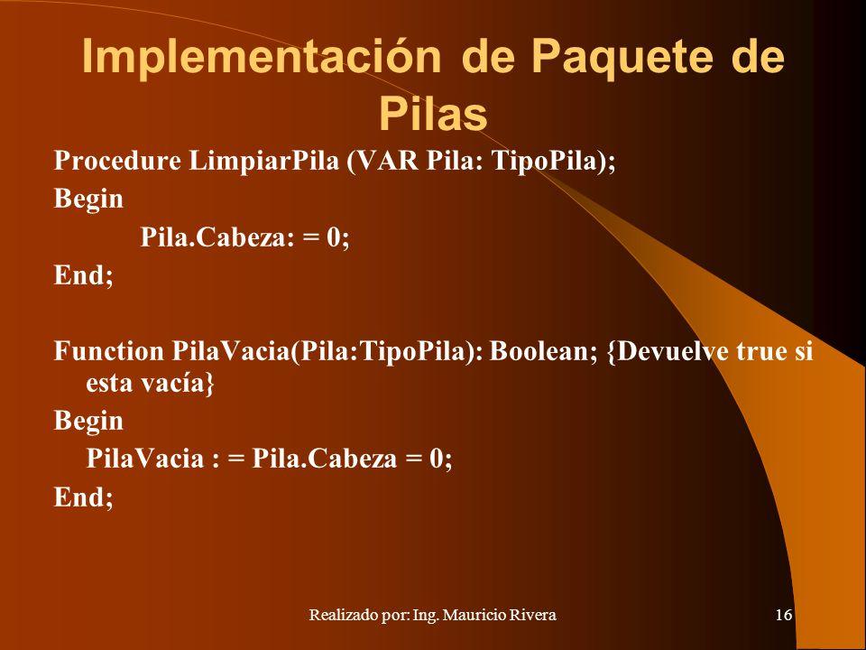 Implementación de Paquete de Pilas