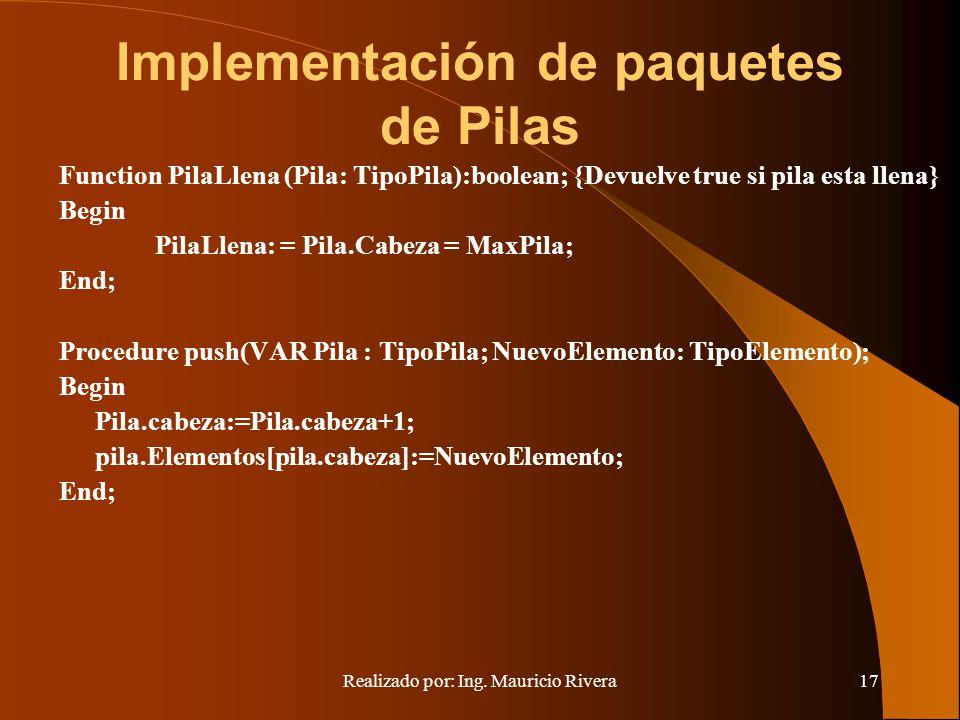 Implementación de paquetes de Pilas